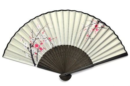 The Japanese folding fan containing the picture of the plum.