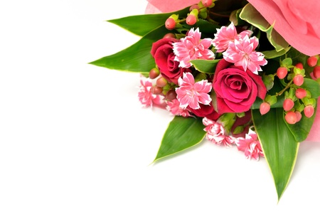 Beautiful bouquet of roses and carnations. (on white background) photo