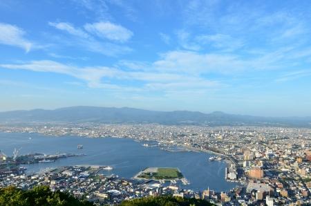 great bay: Daytime view of Hakodate, Hokkaido, Japan. Stock Photo