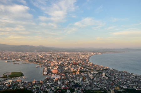 urbanscape: Evening view of the city of Hakodate in Hokkaido, Japan. (Before sunset)
