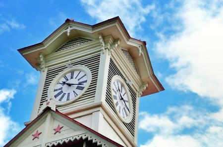 sapporo: Sapporo city clock tower, in Hokkaido, Japan. Stock Photo