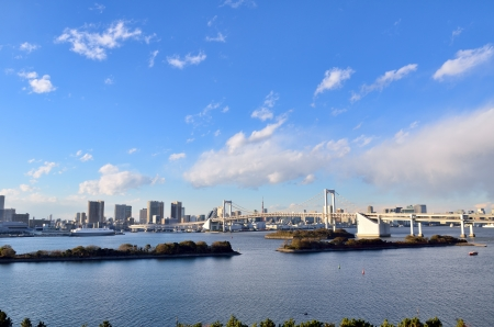 Daytime landscape of Rainbow Bridge. (Tokyo, Japan) photo