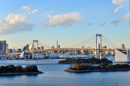 Evening landscape of Rainbow Bridge. (Tokyo, Japan)
