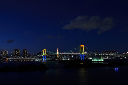 Night view of the Rainbow Bridge. (Tokyo, Japan) photo