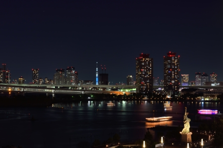 Night view of Odaiba. (Tokyo Skytree in the background) photo