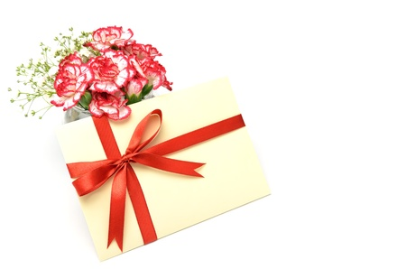 Gift of white and red carnations. isolated on white background. photo
