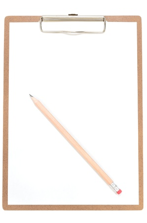 Clipboard and pencil isolated on white background.