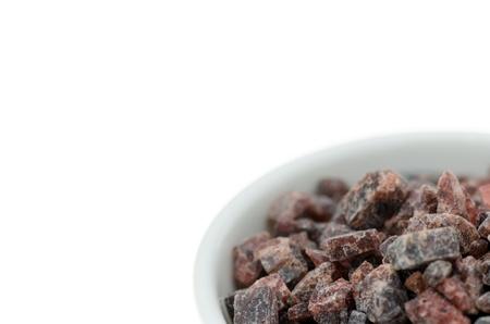 bath additive: Close up of Black Himalayan rock salt. Stock Photo