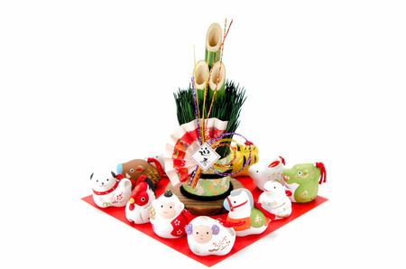 Figurines of the zodiac and New Years pine photo