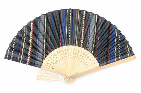 The Japanese folding fan on white background. photo
