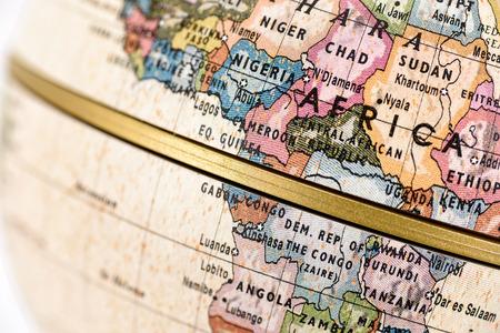 다채로운 세계지도에서 아프리카의 근접입니다.