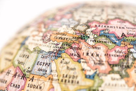 Close-up of West Asia in the colorful world map. Stock Photo