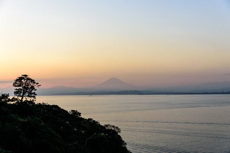 visible: Mt.Fuji which is visible from Enoshima. Stock Photo