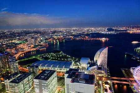 Night View of Minato Mirai 21 in Yokohama.
