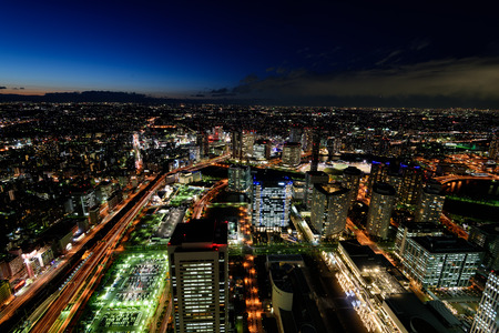 minato: Night View of Minato Mirai 21 in Yokohama.