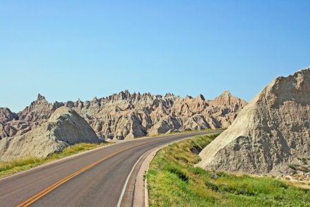 The road in Badlands National park, South Dakota photo