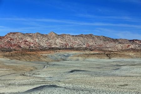 Cottonwood Canyon Road in grey desert photo