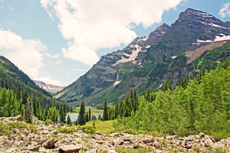 View at Maroon bells from moraine, Colorado Stock Photo