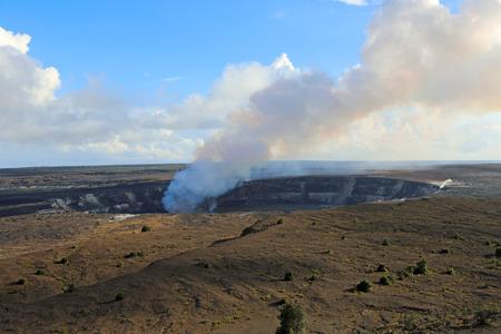 Kilauea caldera with smoking Halemaumau crater, Hawaii Volcanoes National Park, Big Island, Hawaii