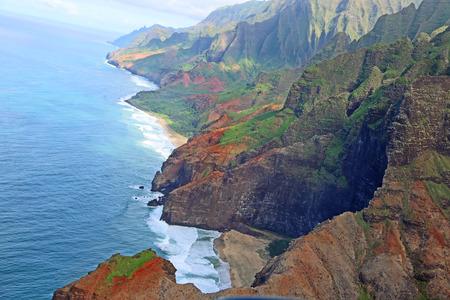 na: Na Pali Coast - view from helicopter, Kauai, Hawaii