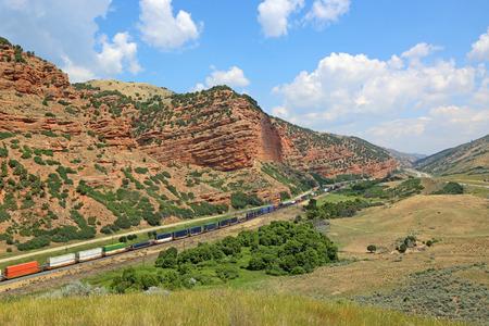 freight train: Freight train in Echo Canyon, Utah Stock Photo