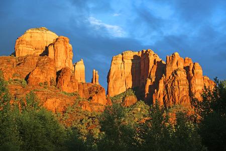 Cathedral Rock at sunset close up, Sedona, Arizona