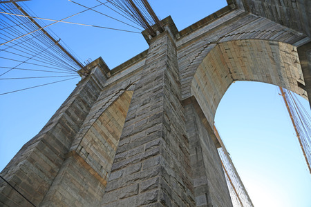 View from the bottom on the pylon - Brooklyn Bridge, New York City