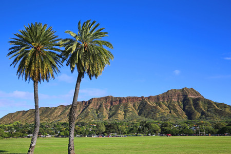 View at Diamond Head Crater from football field- Oahu, Hawaii Stock Photo