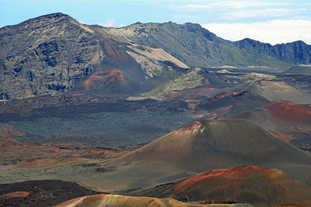 cinder: Chain of volcanic cinder cones - Haleakala National Park, Maui, Hawaii