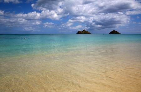 Oahu: Shallow water  Lanikai Beach Oahu Hawaii Stock Photo
