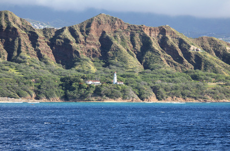 diamond head: Diamond Head Lighthouse  Oahu Hawaii Stock Photo
