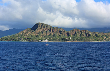 diamond head: Diamond Head Crater - view from Pacific, Ocean - Oahu, Hawaii