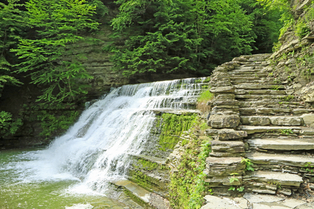stony: Stony Brook Falls and stony stairs- New York Stock Photo
