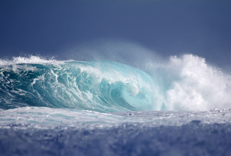 breaking wave: Turquoise pipe - big wave, North Shore, Oahu, Hawaii Stock Photo