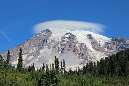 mount rainier: Cloud over Mount Rainier - Mount Rainier National Park, Washington Stock Photo