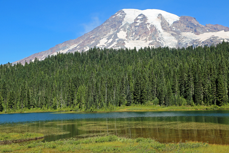 mount rainier: Reflection Lake and Mount Rainier, Washington Stock Photo