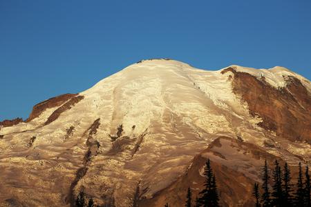 mount rainier: Mount Rainier becoming white at sunrise- Washington