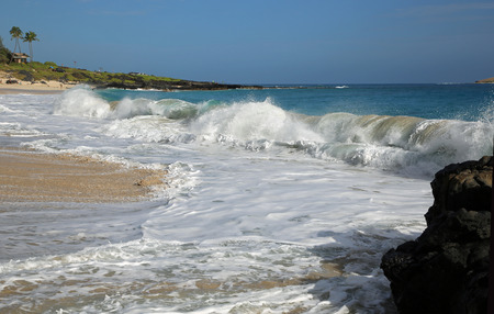 breaking wave: Breaking wave on Makapuu beach - Oahu, Hawaii