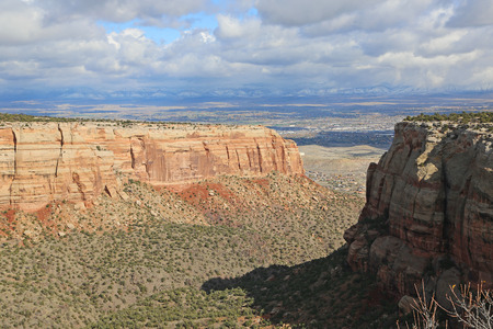 monument valley view: View at Grand Junction Valley from Colorado National Monument Stock Photo