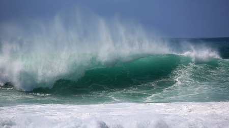 north shore: Green wave - North Shore, Oahu, Hawaii Stock Photo
