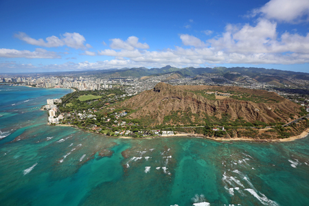 diamond head: Honolulu and Diamond Head crater - Oahu, Hawaii Stock Photo