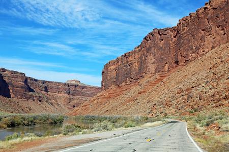 colorado river: Scenic road in Colorado River Canyon - Utah