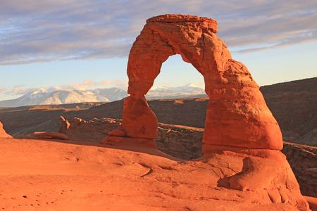Delicate Arch at sunset, Utah Stock fotó