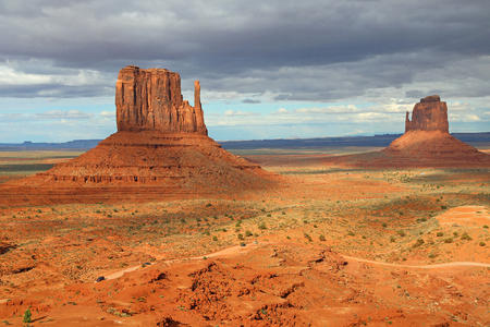 butte: West and East Mitten Butte, Arizona Stock Photo