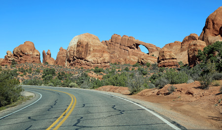 scenic drive: Scenic drive in Arches NP, Utah