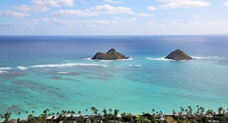 Na Mokulua islets from Kaiwa Ridge, Oahu, Hawaii