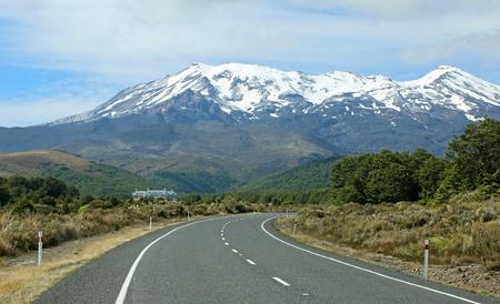Road and Mt Ruapehu, New Zealand