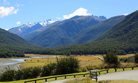 Picnic place in Makarora Valley, New Zealand
