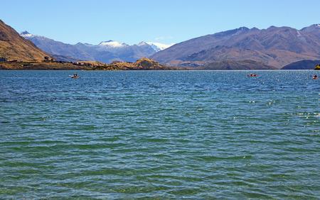 Recreation on Wanaka Lake, New Zealand Stock Photo