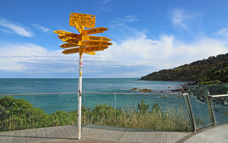 Signpost and Stirling Point, New Zealand